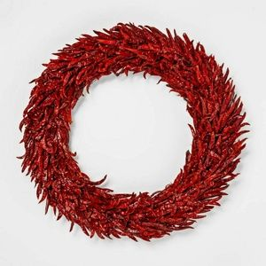 "20"" Dried Chili Pepper Wreath Red Door Decor"